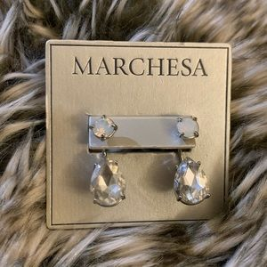 Marchesa Post Earrings with drop silver crystals